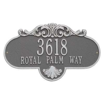 Oval Rochelle Grande Pewter/Silver Wall 2-Line Address Plaque
