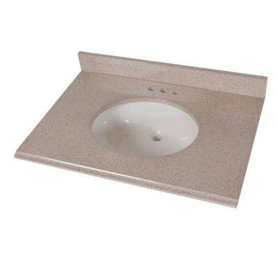 31 in. W x 22 in. D Colorpoint Vanity Top in Maui with White Bowl