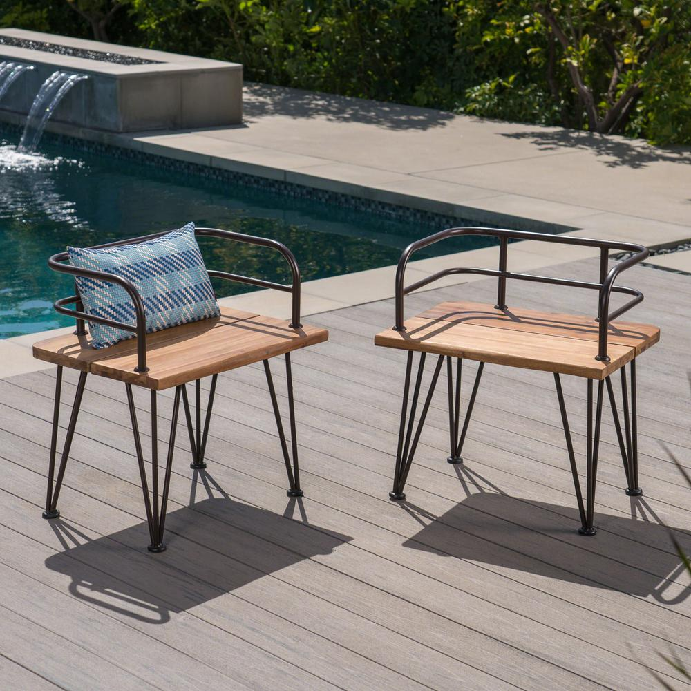 Noble House Zion Industrial Teak Brown Armed Wood Outdoor Lounge Chairs with Rustic Metal Frame (2-Pack)