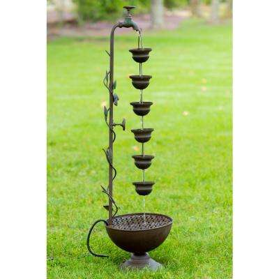 36 in. 6 Hanging Cup Tier Layered Floor Fountain