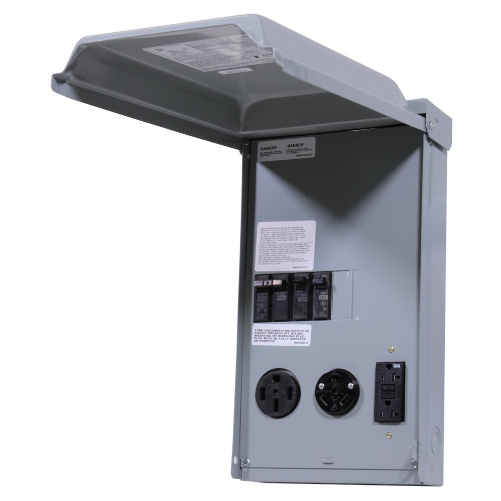 GE RV Panel with 50 Amp and 30 AMP RV Receptacles and a 20 Amp GFCI  Receptacle-GE1LU532SS - The Home DepotThe Home Depot