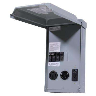 100 Amp 3-Space 3-Circuit 240-Volt Unmetered RV Outlet Box with 50/30/20 Amp GCFI Circuit Protected Receptacles