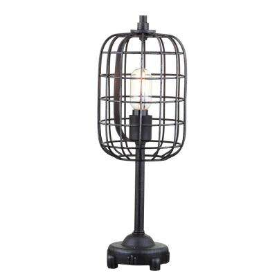 Odette 20 in. Black/Silver Industrial Metal Table Lamp