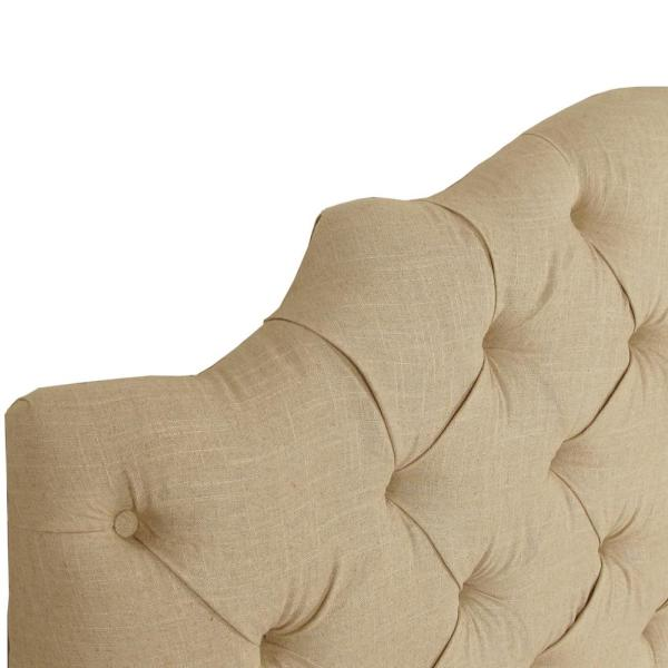 Jones Linen Sandstone California King Tufted Notched Bed 634bedlnnsnd The Home Depot
