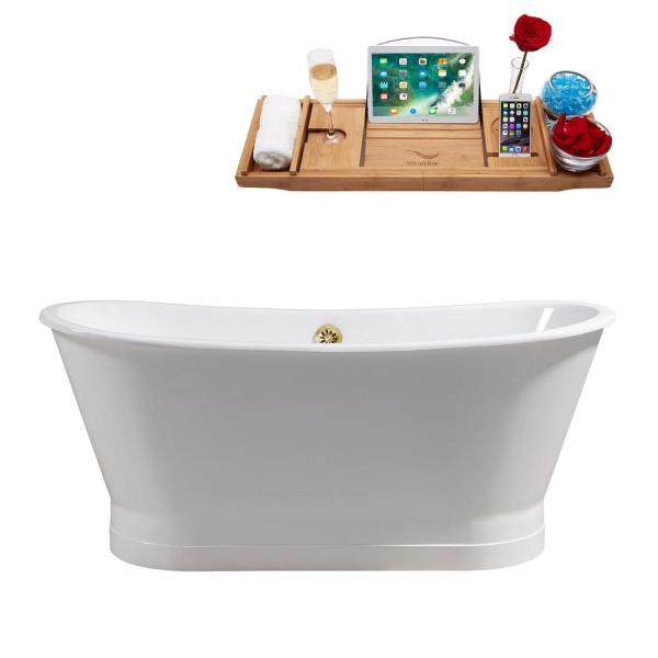 66.9 in. Cast Iron Flatbottom Non-Whirlpool Bathtub in Glossy White