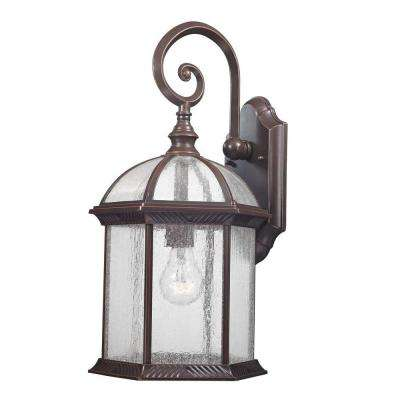 Traditional Wall-Mount 18.75 in. Outdoor Old Bronze Lantern with Clear Seedy Glass