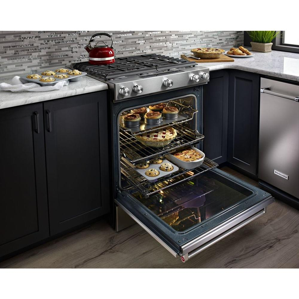 Terrific Kitchenaid 6 5 Cu Ft Slide In Gas Range With Self Cleaning Convection Oven In Stainless Steel Interior Design Ideas Tzicisoteloinfo
