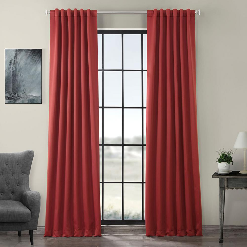 Exclusive Fabrics & Furnishings Semi-Opaque Brick Red Blackout Curtain - 50 in. W x 96 in. L (Panel)