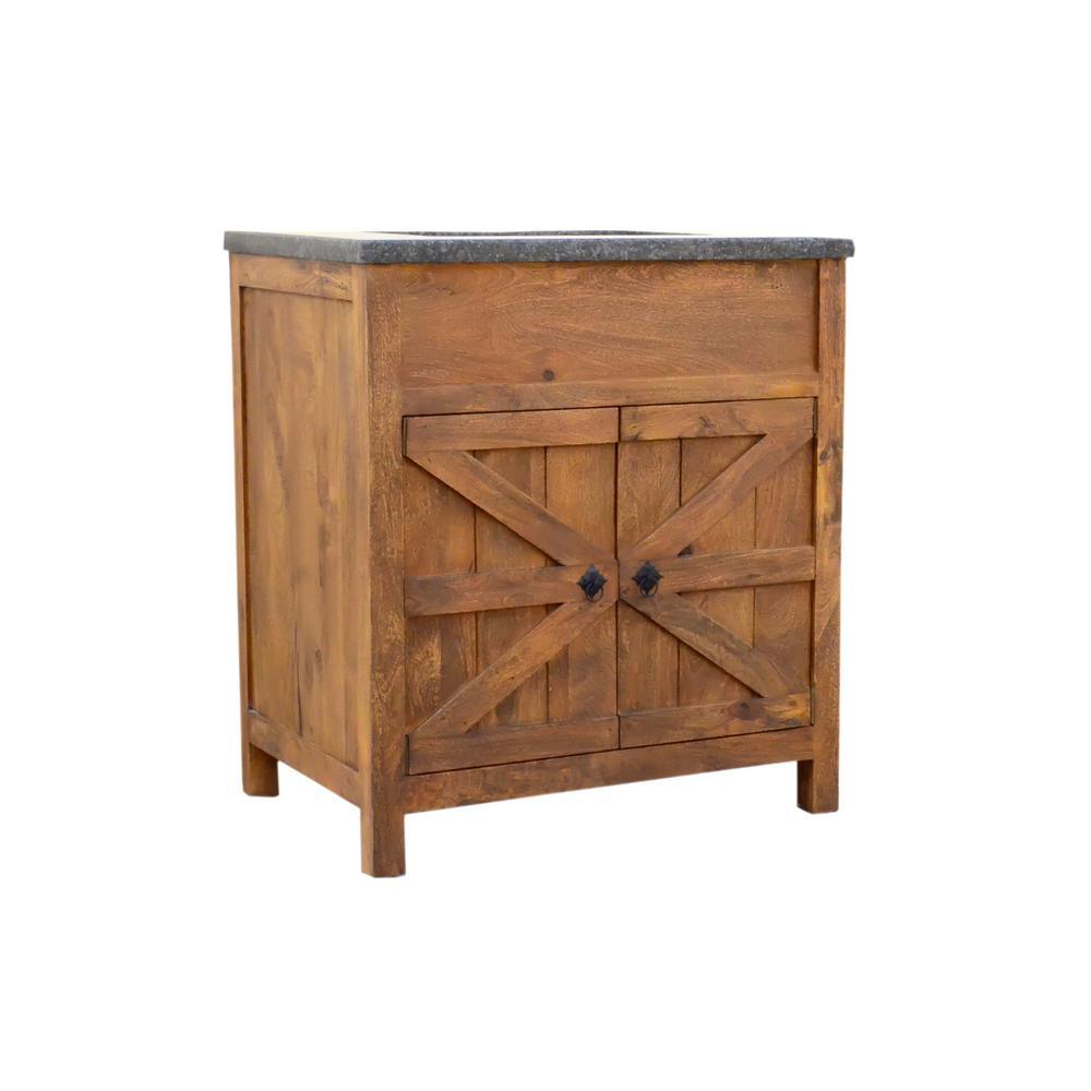 Traditional 30 In Wide Single Barn Door Vanity In Antique Finish