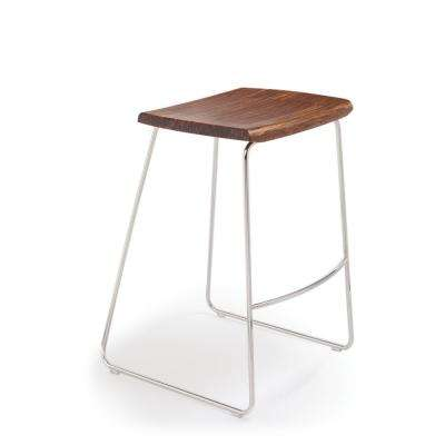 Paris 30 in. Exotic 100% Solid Bamboo and Polished Stainless Steel Bar Stool without Back (Set of 2)