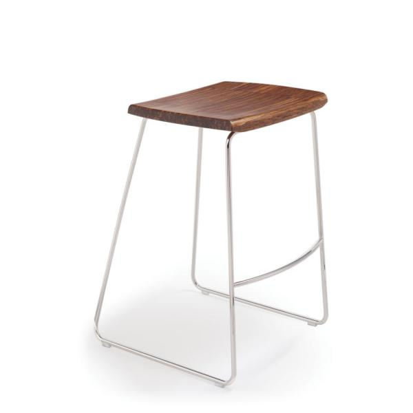Greenington Paris 30 in. Exotic 100% Solid Bamboo and Polished Stainless Steel Bar Stool without Back (Set of 2)