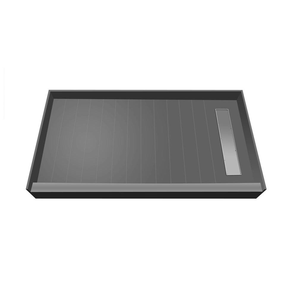 Redi Trench 33 in. x 60 in. Single Threshold Shower Base with Right Drain and Tileable Trench Grate