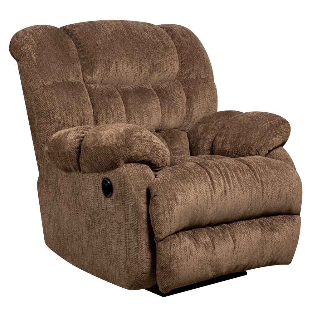 Flash Furniture Contemporary Columbia Mushroom Microfiber Power Recliner  With Push Button AMP94605860   The Home Depot