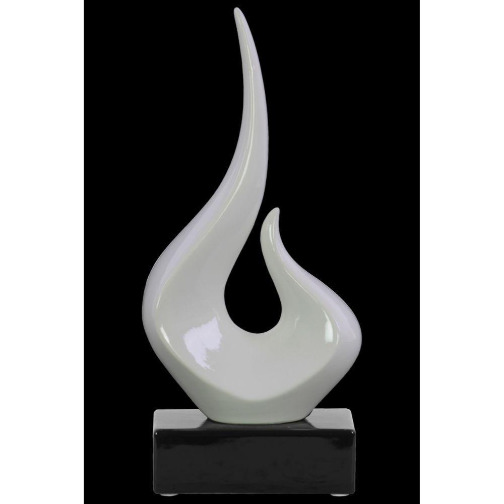 Abstract Glossy White Ceramic Swirl Sculpture on Black Rectangular Base