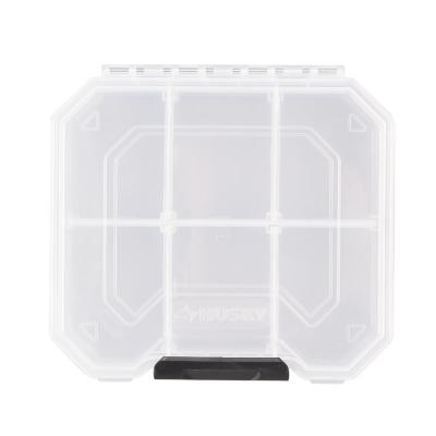 6 in. 6-Compartment Storage Bin Small Parts Organizer, Clear and Black