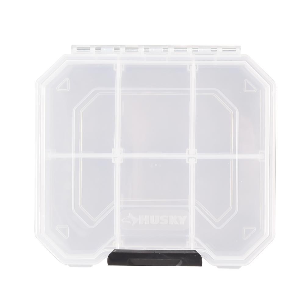 6 in. 6-Compartment Storage Bin Small Parts Organizer, Clear and Black