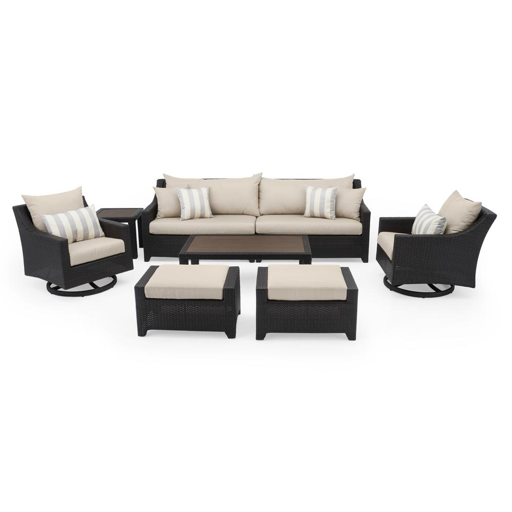 RST Brands Deco 8-Piece Motion Wicker Patio Deep Seating Conversation Set with Slate Grey Cushions
