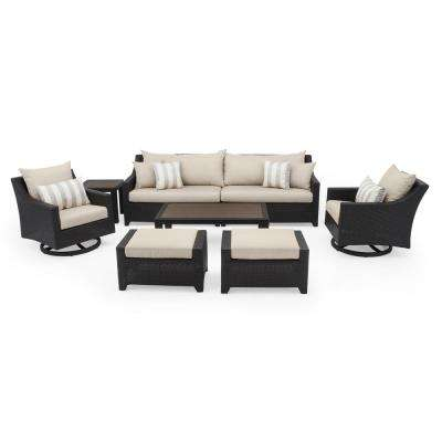 Deco 8-Piece Motion Wicker Patio Deep Seating Conversation Set with Slate Grey Cushions