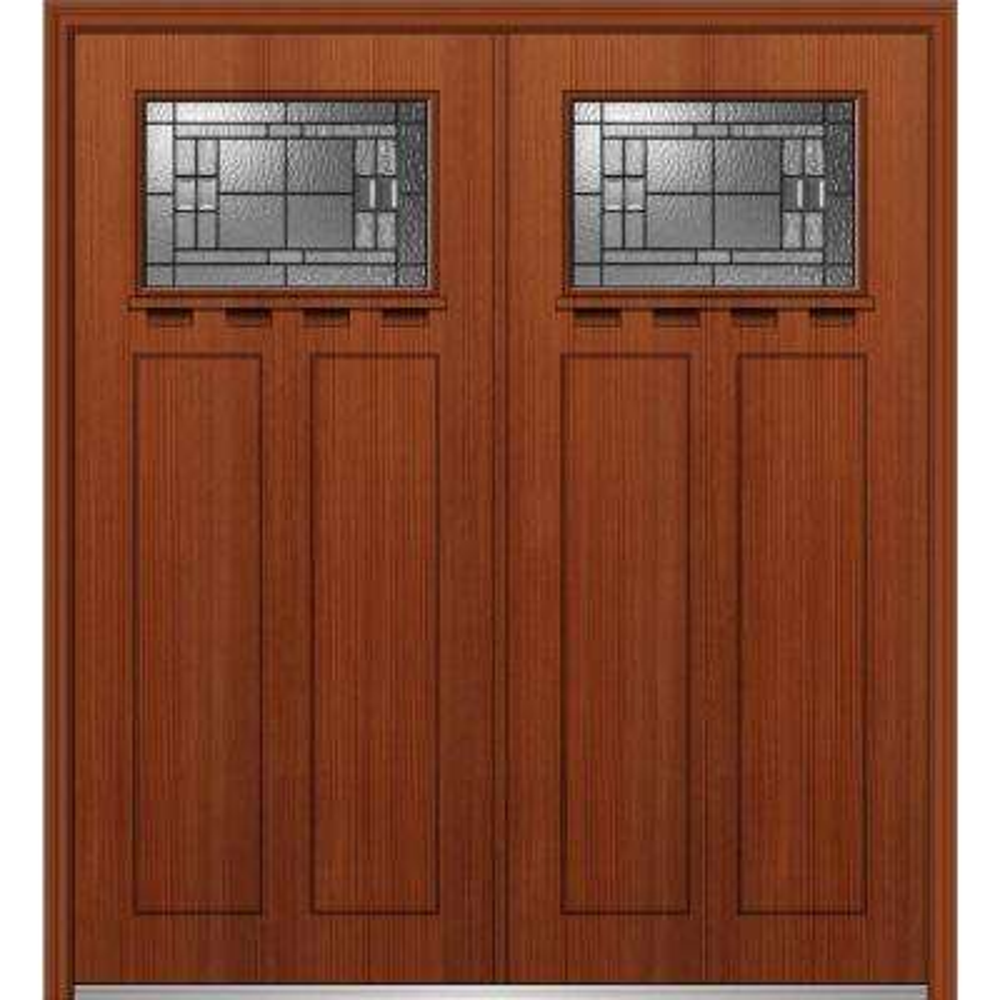 64 in. x 80 in. Roman Left-Hand Inswing 1/4-Lite Decorative 2-Panel Stained Fiberglass Fir Prehung Front Door with Shelf