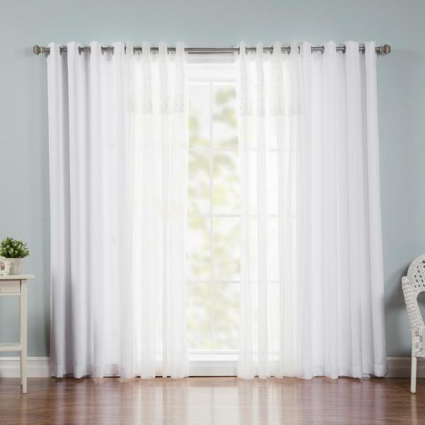 84 in. L x 52 in. W uMIXm Dimanche Sheer Nordic Curtain Panels in White (4-Pack)