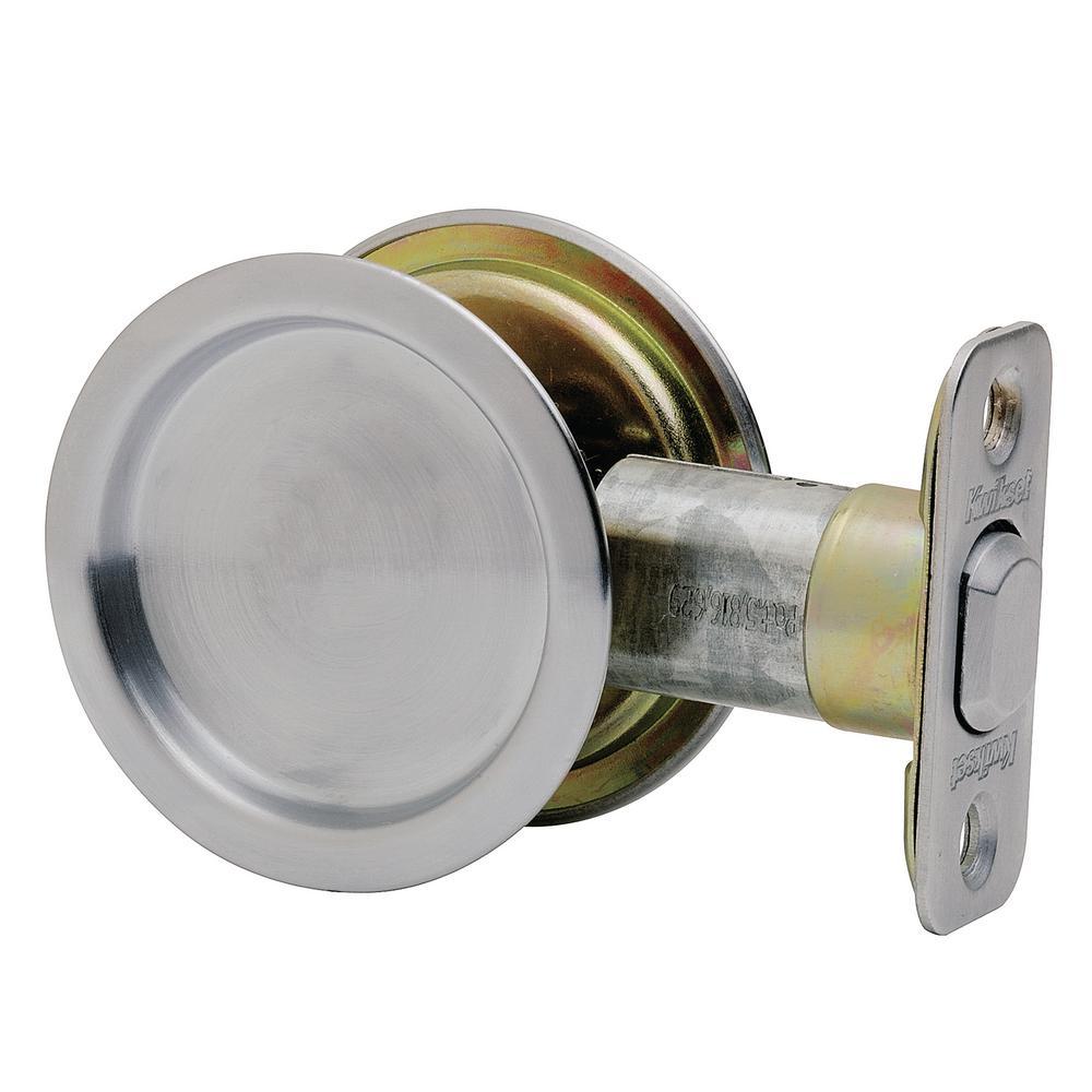 Round Satin Chrome Hall/Closet Pocket Door Lock
