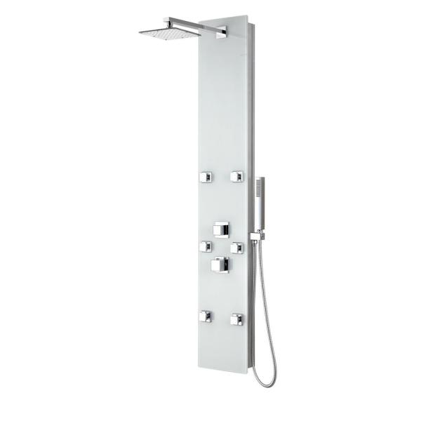 Jaguar 60 in. 6-Jet Full Body Shower Panel with Heavy Rain Shower and Spray Wand in White