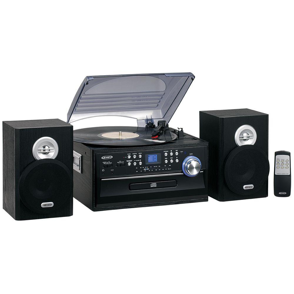 JENSEN 3-Speed Stereo Turntable Music System with CD/Cassette and AM/FM Radio