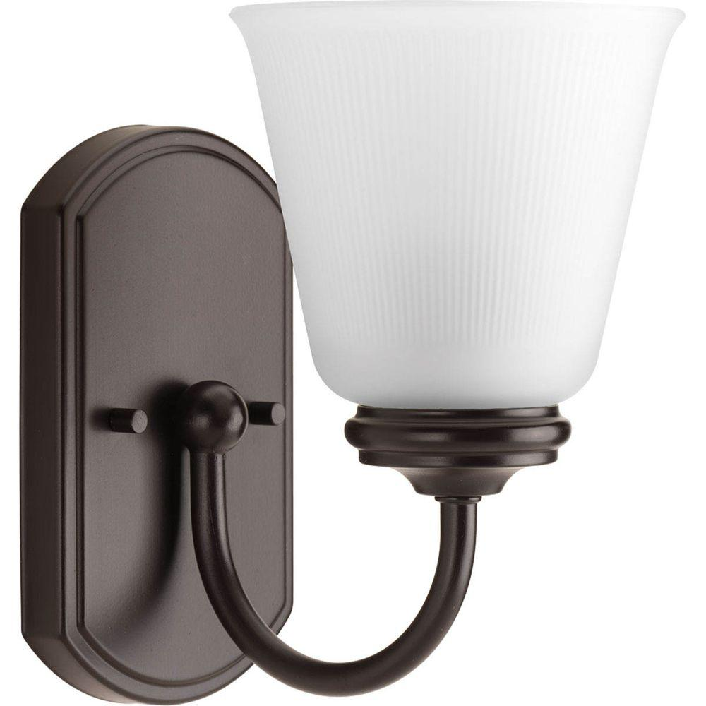 Progress Lighting Keats Collection 1-Light Antique Bronze Bath Sconce with Frosted Ribbed Glass Shade