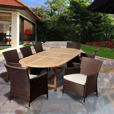 Powell 9-Piece Teak Extendable Oval Patio Dining Set with Off-White Cushions