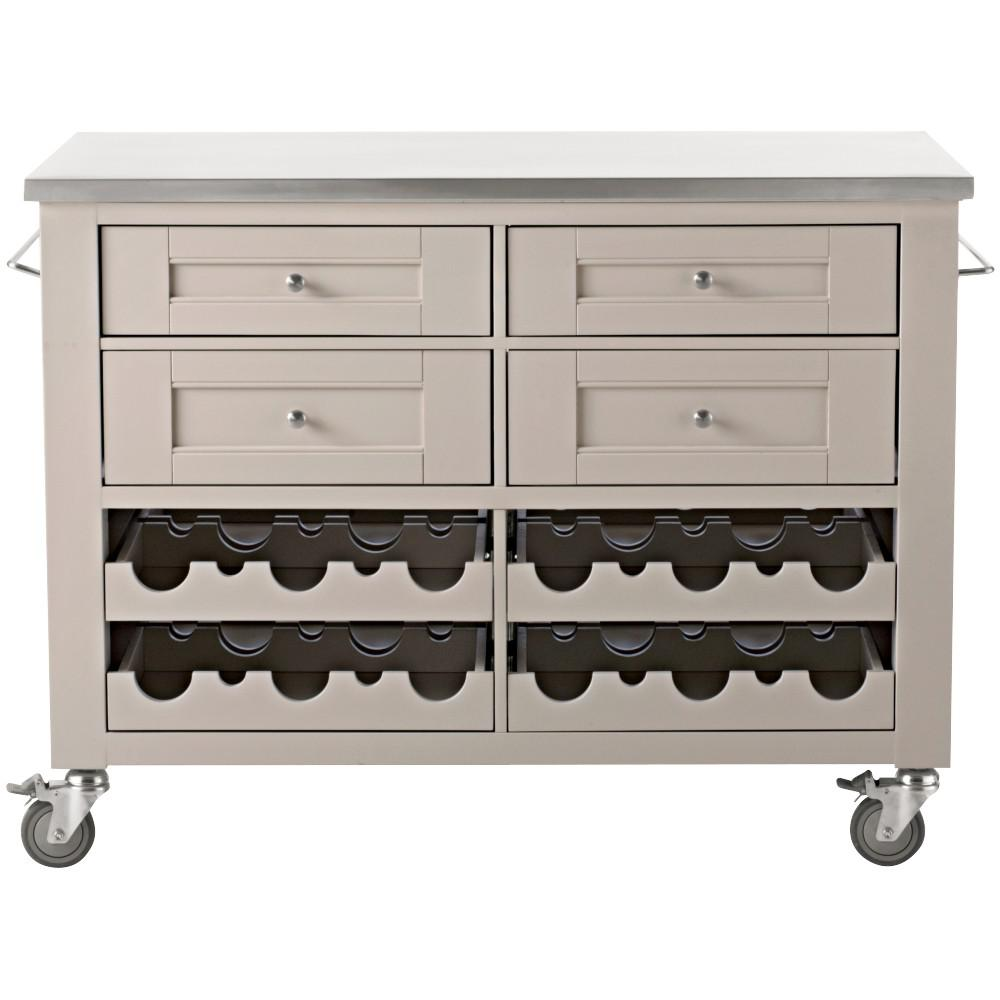 Martha Living Corwin Sharkey Gray Kitchen Cart With Wine Rack 9404400270 The Home Depot