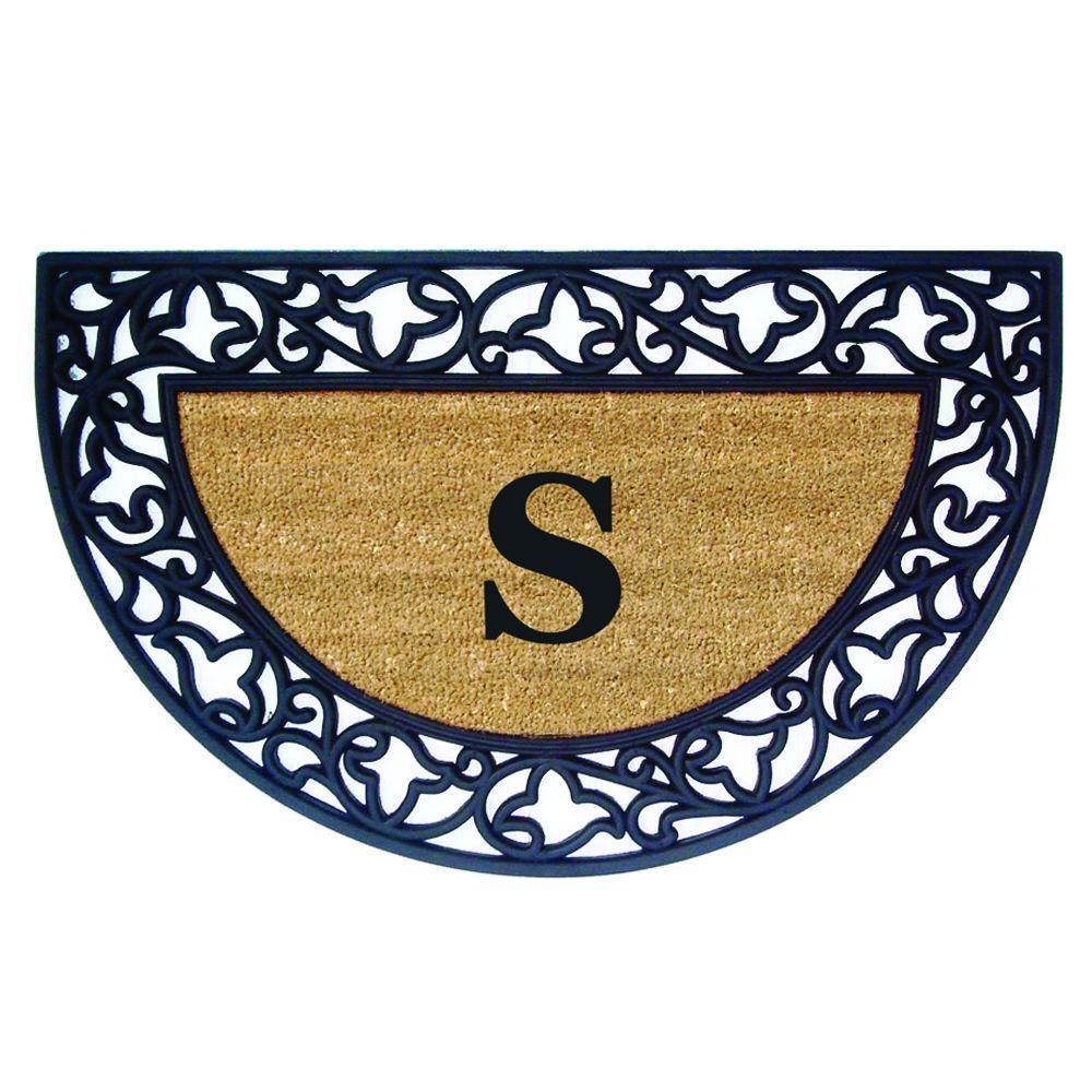 Acanthus Border 22 in. x 36 in. Rubber Coir Half Round Monogrammed S Door Mat