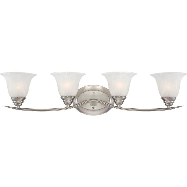 Trinidad 4-Light Indoor Brushed Nickel Bath or Vanity Wall Mount with Alabaster Glass Bell Shades
