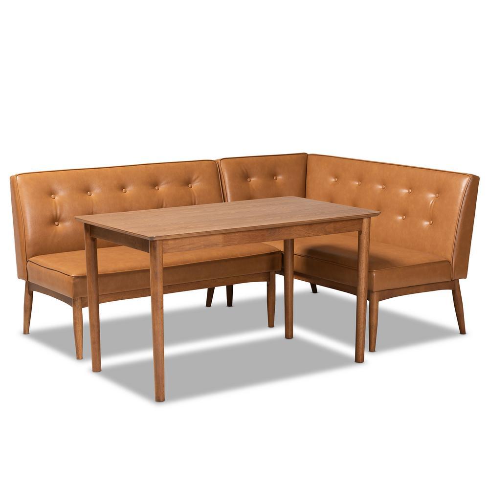 Arvid 3-Piece Tan and walnut brown Dining Nook Set