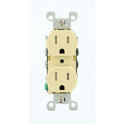 15 Amp Weather and Tamper Resistant Duplex Outlet, Ivory