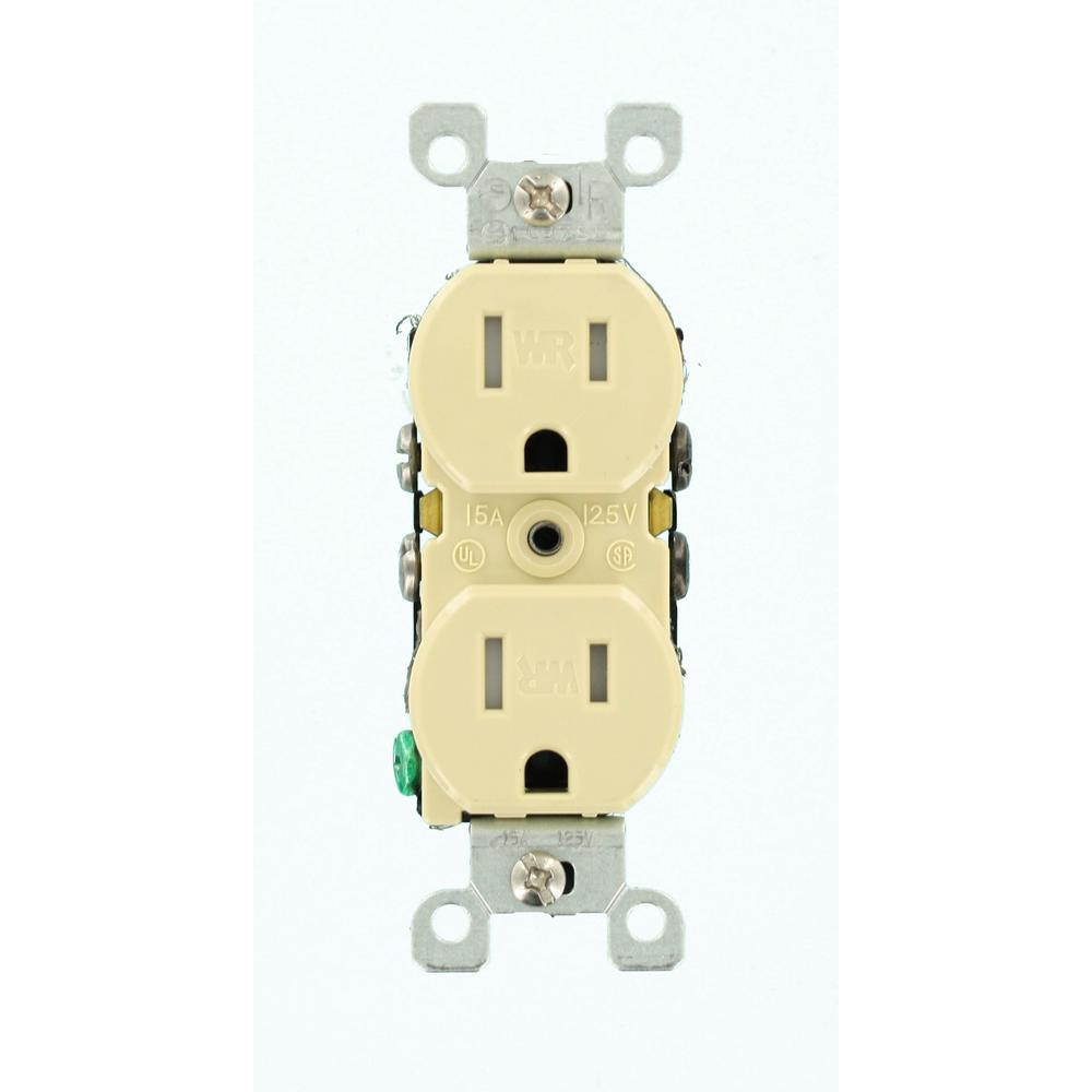 15 Amp Residential Grade Weather/Tamper Resistant, Duplex Outlet, Ivory