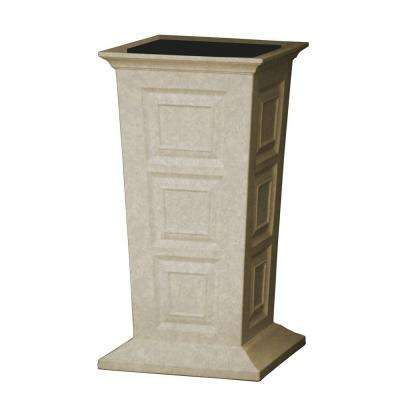Savannah 16 in. Square Sandstone Poly-Resin Column Planter