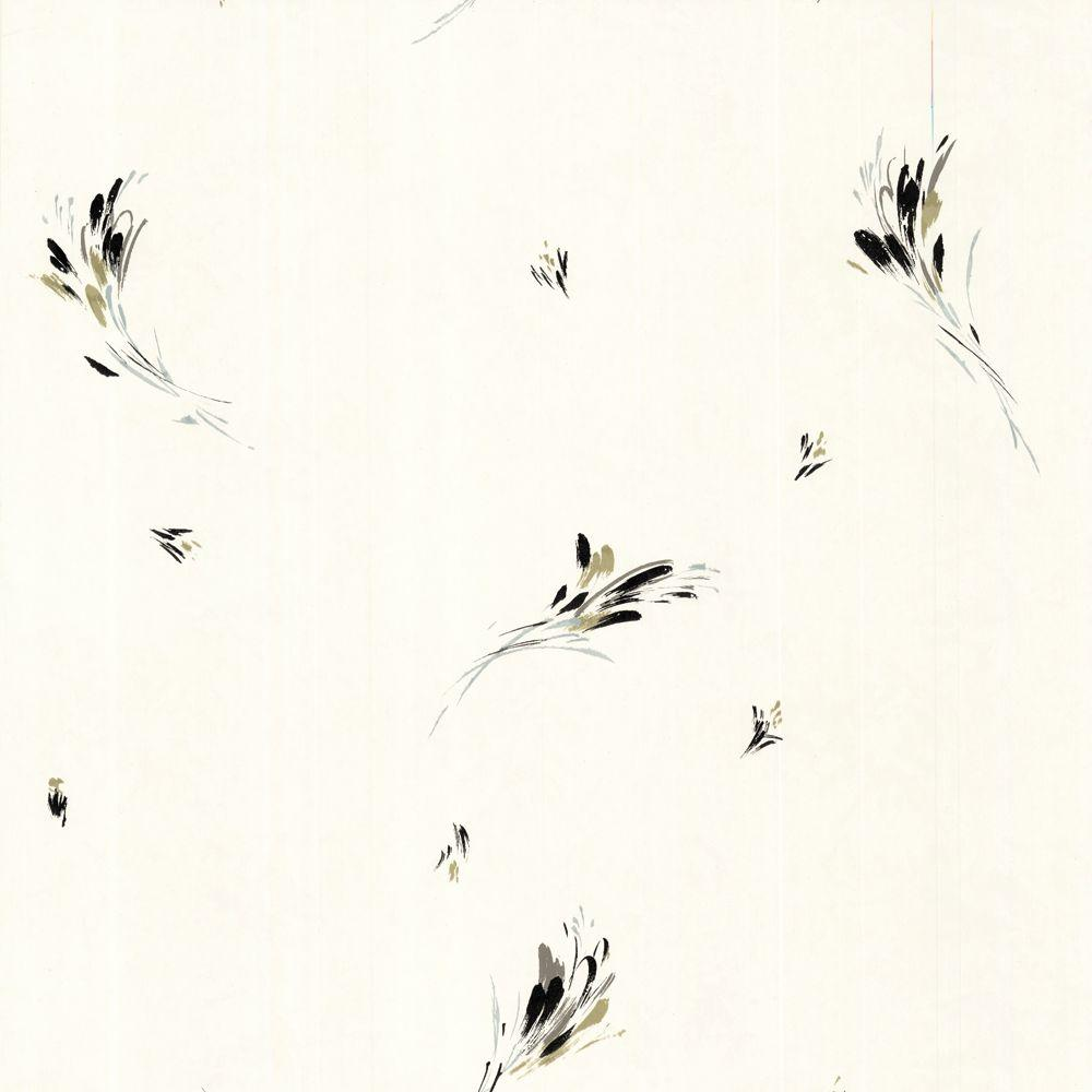 The Wallpaper Company 8 in. x 10 in. Black, Gold and Silver Large Brushstroke Wallpaper Sample