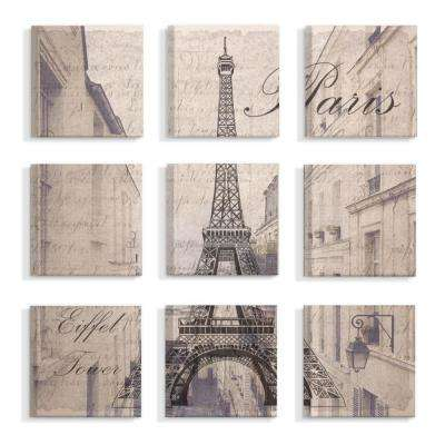 "12 in. x 12 in. ""Vintage Postcard Look Eiffel Tower Over Paris Apartments"" by Daphne Polselli Canvas Wall Art (9-Piece)"