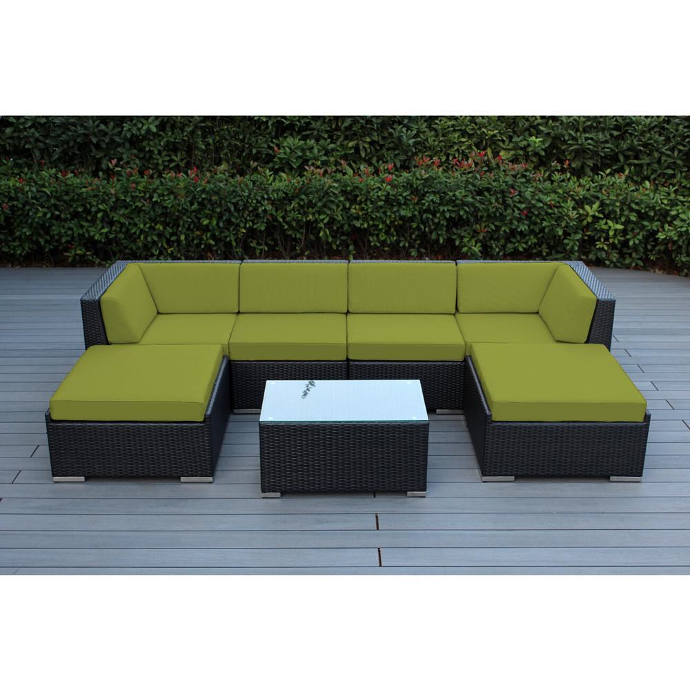 Ohana Depot Ohana Black 7-Piece Wicker Patio Seating Set with Spuncrylic Peridot Cushions