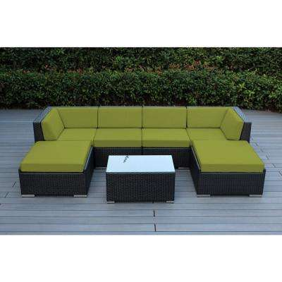 Ohana Black 7-Piece Wicker Patio Seating Set with Spuncrylic Peridot Cushions