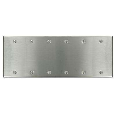 6-Gang No Device Blank Wallplate, Standard Size, 302 Stainless Steel, Box Mount, Stainless Steel