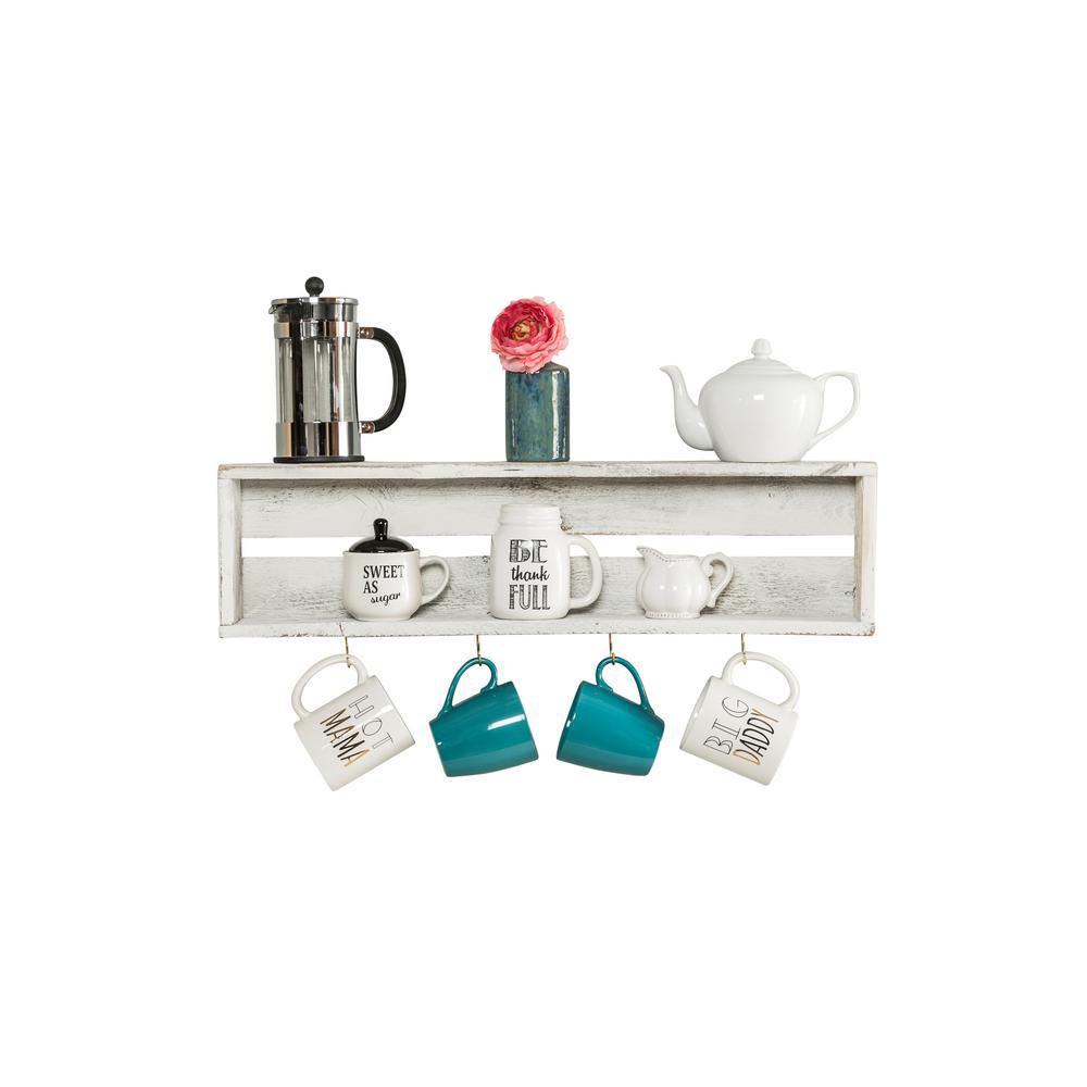 30 in. W x 4 in. D Reclaimed Wood White Coffee Hook Decorative Shelf