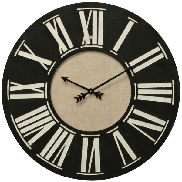 Roman Numerals Black And Beige Wood Clock