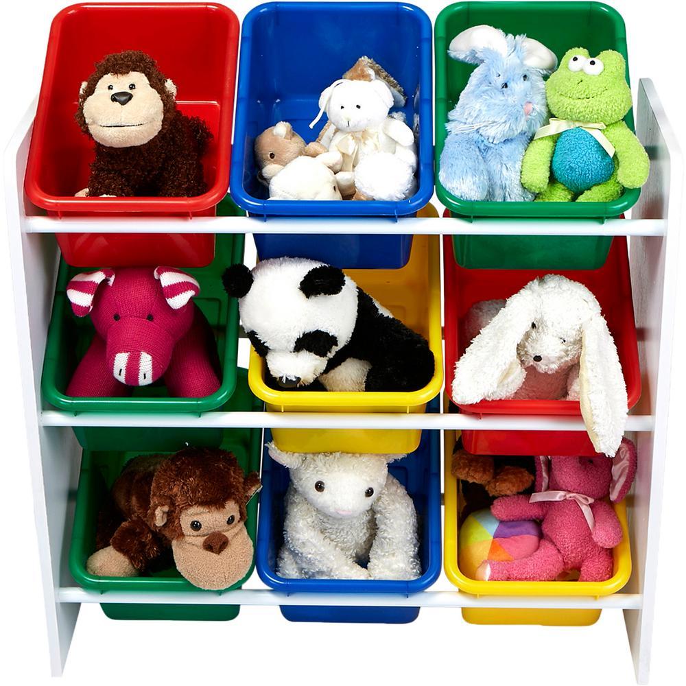 3-Tier Toy Storage Organizer with 9 Plastic Bins