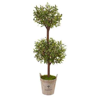 Indoor Olive Artificial Tree in Farmhouse Planter