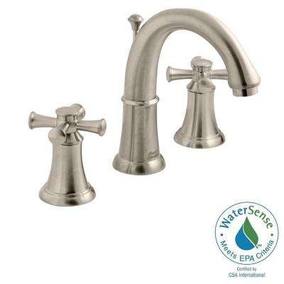 Portsmouth 8 in. Widespread 2-Handle Mid-Arc Bathroom Faucet with Speed Connect Drain in Brushed Nickel