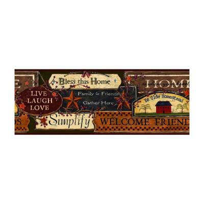 Best of Country Country Sign Border Green/Burgundy Wallpaper Border
