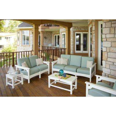 Club White 5-Piece Deep Plastic Patio Seating Set with Sunbrella Spa Cushions