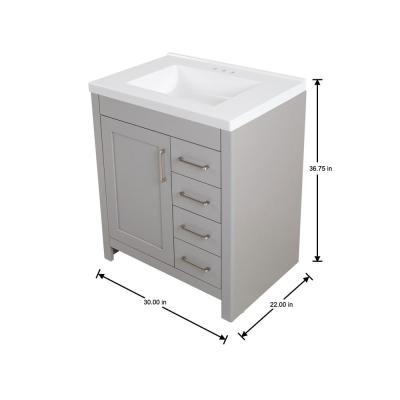 Westcourt 31 in. W x 22 in. D Bath Vanity in Sterling Gray with Cultured Marble Vanity Top in White with White Sink
