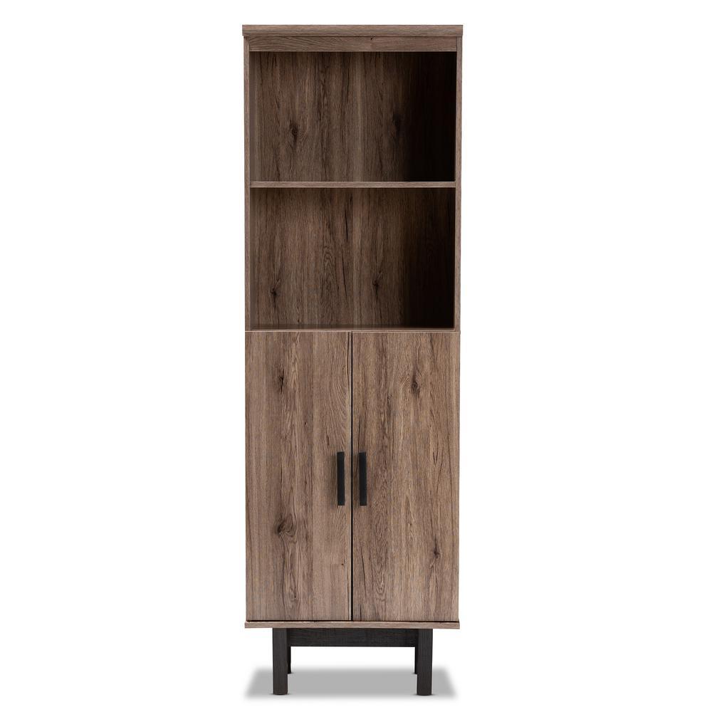 Arend Oak and Black Bookcase